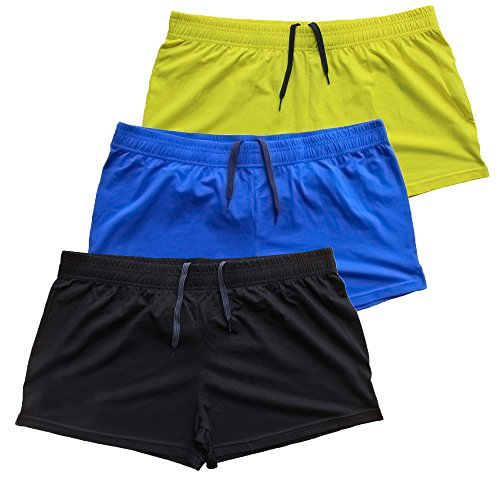 Muscle Alive Mens Bodybuilding Shorts 3' Inseam Cotton Size M Black Blue and Yellow 3 Packs