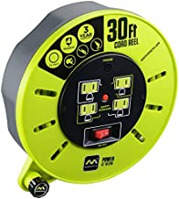 Masterplug 30ft Extension Cord Cassette Reel with 4 120V / 13 amp Integrated Outlets and Thermal Overload Switch