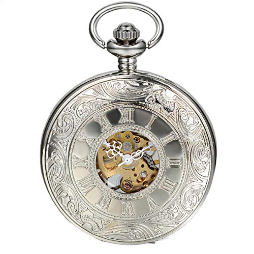LANCARDO Taschenuhr Vintage Herren Damen Uhr Analog mit Metall Kette Weihnachten Geschenk LCD100565