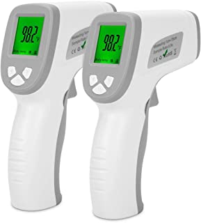 Forehead Thermometer, Non-Contact Infrared Digital Thermometer for Fever, Thermometer Gun with 3 Color LCD Display, Fever Alarm, Body Mode & Object Mode, One Button Easy to Use (2 PCS)