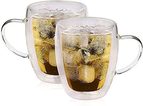 LSZ 2 PCS 350 ml Taza de Cerveza Tazas de Vidrio de Doble Pared Tazas de café Latte Tazas de Cristal Transparente Tazas de Vidrio Tazas de Cochecito de Vidrio de coctelería Vasos de Cerveza