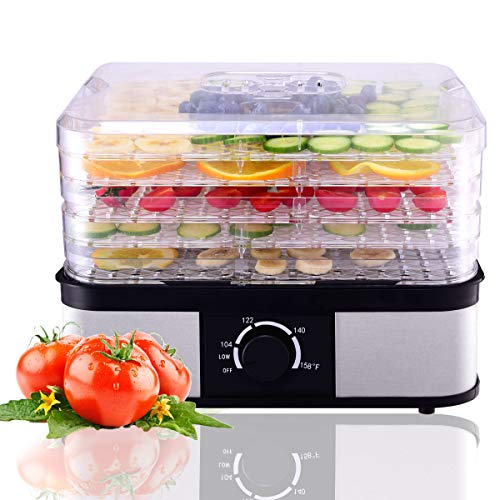 HAPPYGRILL Food Dehydrator Best Electric 5-Tier Home Food Meat Beef Jerky Fruit Vegetable Dehydrator Dryer Preserver, Professional 360 Degree Hot Air Circulation System, Easy to Clean