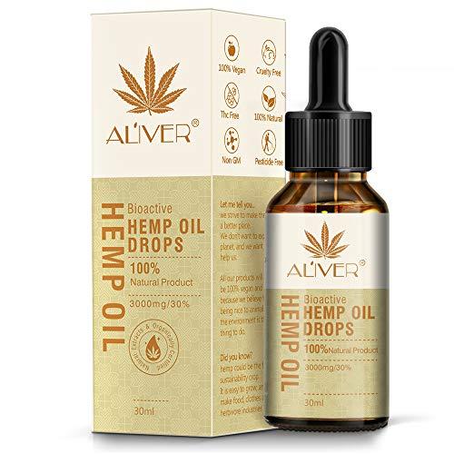 Aceite de cáñamo gotas 30% alta resistencia aceite de semillas de cáñamo 3000 mg extracto de cáñamo bio-activo orgánico ayuda con el sueño, la piel y el cabello, calma el estado (30 ml)