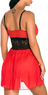 Bravetoshop Women Lingerie V Neck Satin Spaghetti Strap Nightdress Sleepwear Lace Chemise Mini Teddy Babydoll