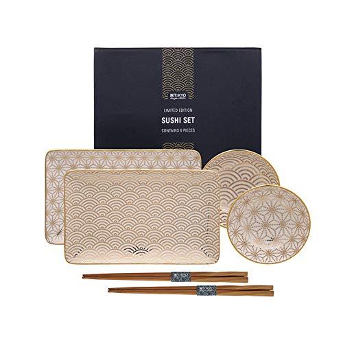 TOKYO design studio Limited Edition Gold Plate Nippon Set6W/Chop Wave/21x 13.5Estrellas y 9.5x 3cm