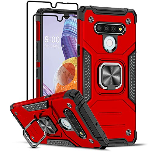LeYi Compatible with LG Stylo 6 Case with [2 Pack] Tempered Glass Screen Protector, [Military-Grade] Armor Protective Phone Case with Magnetic Ring Kickstand for LG Stylo 6, Red