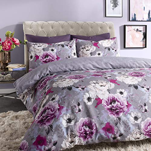 Sleepdown Inky Floral Grey Reversible Duvet Cover and Pillowcases Bedding Set (Double)