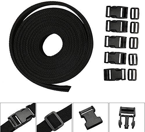 4M*25mm Gurtband mit Schnallen Klippverschluss 5 Paare aus Polypropylen Gurte Schwarz für Rucksack Tasche