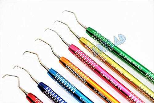 7PC HIGH Grade Gracey Curette Scaler Multicolor PERIODONTAL Dental Instruments (CYNAMED)