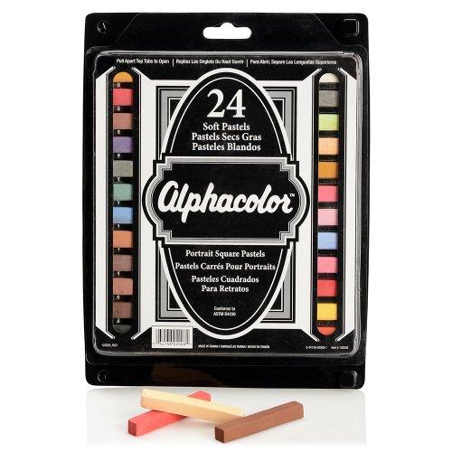 Quartet Alphacolor Soft Pastels, Multi-Cultural Portrait Pastels for Skin Tones, 24 Pastels per Set (102008), Multi-Colored