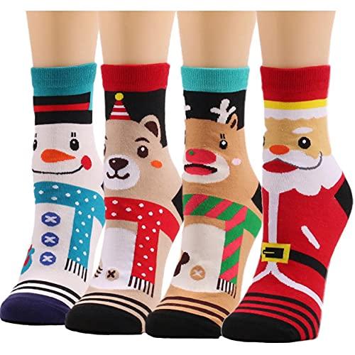 MAIKUI Kuschelsocken Weihnachtssocken Damen Winter Nette Plüschohr Weihnachtsdruck Socken Unisex Super Weiche Warme Socken