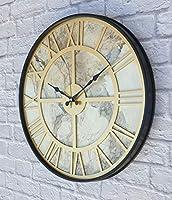 Markakanvas Metal Kasalı Mermer Desenli Altın(Gold) Renkli Duvar Saati