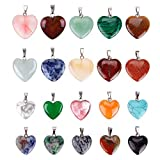 20Pcs Heart Shaped Stone Pendants Charms Crystal Chakra Beads for DIY Necklace Jewelry Making, 2 Sizes, Assorted Color