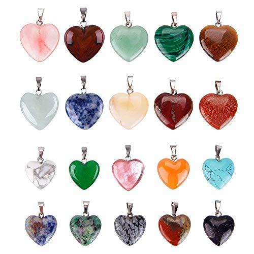 20 colgantes de piedra en forma de corazón, cuentas de chakra de cristal para hacer collares y joyas, varios colores