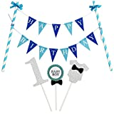 """KUNGYO """"Happy Birthday"""" Décoration de Gâteau d'anniversaire- Bannière de Gâteau Bleu Et 1' Cake Topper pour la Fête d'anniversaire du Garçon de 1 an"""