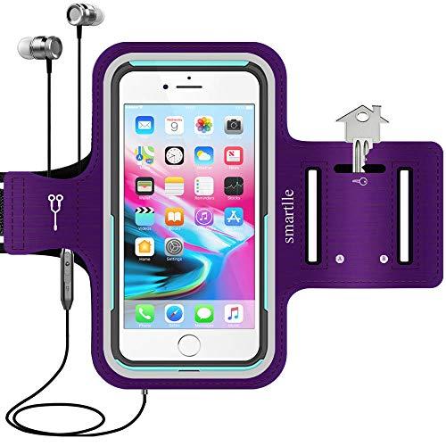 smartlle Running Handy Armband joggen für iPhone 12 11 Pro Max XS Max 8 Plus 7 Plus XR, Samsung Galaxy S A Note, LG, Xiaomi, Huawei Bis zu 6.9'', Sport Workout Laufen Armband - Handyhalter Case(lila)