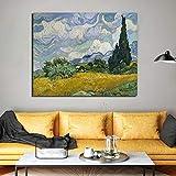 YuanMinglu Pintor Abstracto Campo de Trigo y ciprés Lienzo Pintura Sala de Estar decoración del hogar Moderno Arte de la Pared Pintura al óleo póster Cuadro sin Marco Pintura 45x56 cm