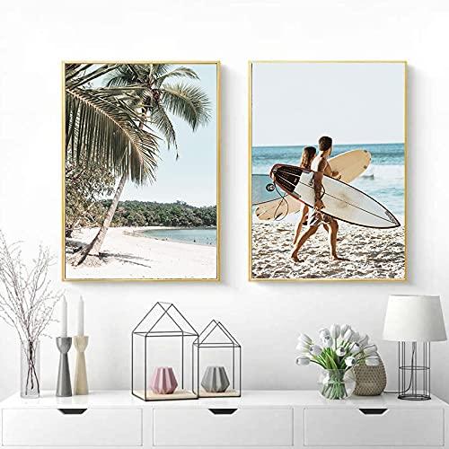 Cuadro de pared Decoración para el hogar Sunny Beach Vehículo Tabla de surf Paisaje Lienzo Pintura Palm Seaside Poster Art Print Decorativo 43x65cm (17x26in) x2 Sin marco