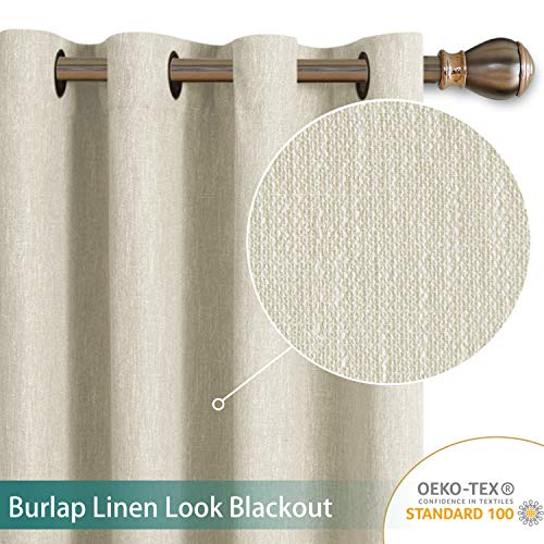 LORDTEX Burlap Linen Look Textured Blackout Curtains for Bedroom with Thermal Insulated Liner - Heavy Thick Grommet Window Drapes for Living Room, 50 x 84 Inch, Ivory, Set of 2 Panels