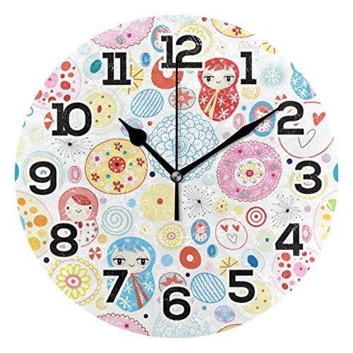 BONIPE Wanduhr, russische Volkstänzerin, Blume, geräuschlos, Nicht tickend, Acryl, 23,9 cm, Dekoration, Büro, Schule, runde Uhr