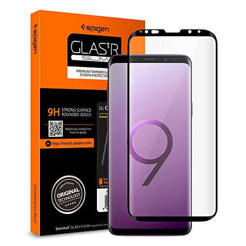 Spigen Samsung Galaxy S9 Plus Panzerglas, Hüllenfreundlich, Schwarz, Volle Abdeckung, 9H gehärtetes Glas, Antikratz, Glas 0.33mm, Samsung Galaxy S9 Plus Schutzfolie (593GL22905)