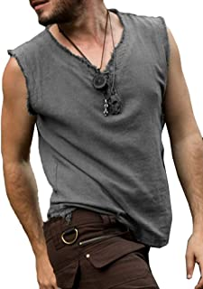 Mens Halloween Medieval Costume Renaissance Pirate Tank Tops Raw Cut Viking Sleeveless T Shirt Top