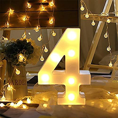 LED Lampada Numerica Numero Numeri Illuminati,Insegne Luminose Luci LED Alfabeto Luminoso Marquee Lights per Decorazione di Casa, Matrimoni, Feste, Reception, Bar(4)