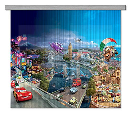 AG Design Disney Cars Kinderzimmer Gardine/Vorhang, 2 Teile, Stoff, Mehrfarbig, 180 x 160 cm