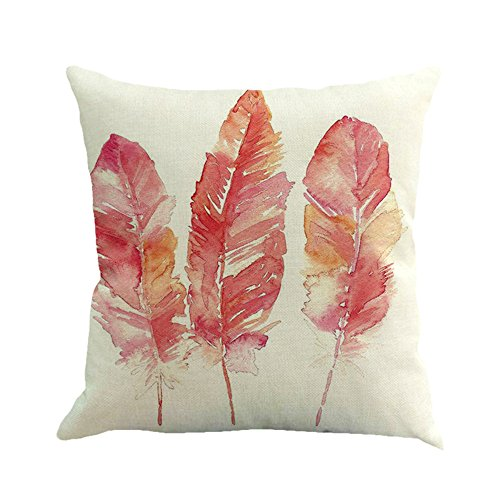 ZOMUSA Clearance Feather Painting Linen Sofa Home Decor Cover Pillow Case (A)