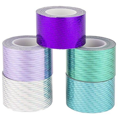 Ideen mit Herz Deko-Klebeband, 30mm x 5m, 5 Rollen | Washi Tape | Masking Tape | Dekoband | Laseroptik, gelasert, Hologramm, Holografie, 5 (kalte Farben, Laserpoints)