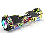 YUAnCC Hoverboard with Bluetooth Speaker and Led Lights, 6.5inch Self Balancing Hoverboard for Kids and Teenagers, Two Wheel Hoverboards-Yellow