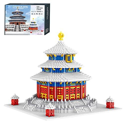 Myste Casa modular bloques de construcción 2641, bloques de construcción de la casa templo del cielo, arquitectura famosa de edificios modulares, arquitectura, modelo de casa Not compatible con Lego
