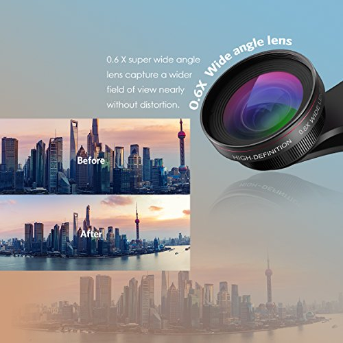 [Upgraded Version] Criacr for iPhone Camera Lens Kit, 0.6X Wide Angle Lens + 15X Macro Lens, Clip-On Cell Phone Lens for iPhone X / 8/8 Plus / 7/6 / 6S, Samsung, Most Smartphones (NO Distortion)