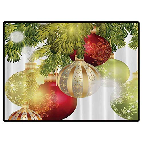 Red Gold & Green Laundry Room Rug Holiday Ornaments in Christmas Tree Carpet for Girls Kids Baby Room Nursery Mats 6x6 Feet