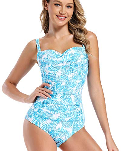 AS ROSE RICH - One Piece Swimsuits for Women - Soft and Colorful Floral Design, L, Blue Palm