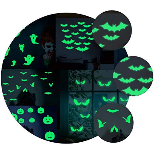 VILLCASE 1 Conjunto 2 Pcs Adesivo Luminoso de Halloween Esculpido Bruxa Morcego Adesivo de Brilho Brilhar No Escuro Adesivo Noctilucente Adesivos de Parede Decalque para O Halloween