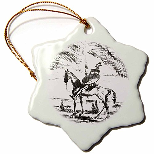 3dRose ORN_78688_1 Sketch Drawing of Don Quixote Snowflake Porcelain Ornament, 3-Inch
