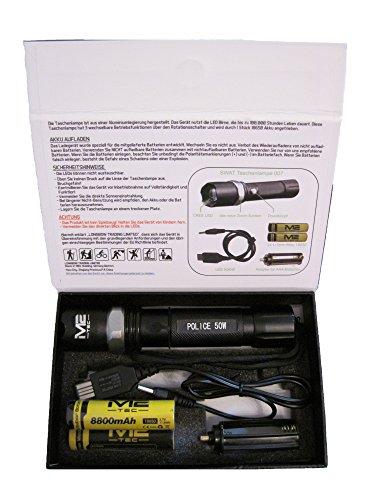 Swat LED Cree Taschenlampe 2x 8800mAh Akku + USB Ladekabel Zoom Cree Light Neu