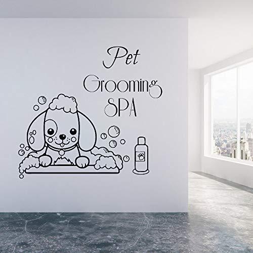 SFSDF Wandaufkleber Haustier Pet Grooming Spa Wandtattoos Pet Shop Wandfenster Dekor Vinyl Aufkleber Nette Hund Tapete Tier Wandbilder 46X42 cm