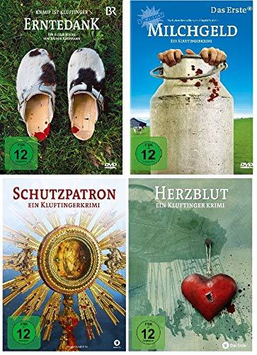 Die Kluftinger Krimis - 4 DVDs (Erntedank, Milchgeld, Schutzpatron, Herzblut) im Set - Deutsche Originalware [4 DVDs]