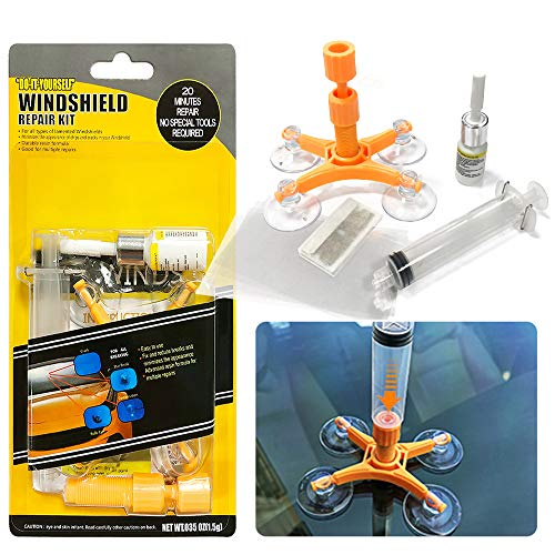 YOOHE Car Windshield Repair Kit - Windshield Repair Kit with Pressure Syringes for Fix Windshield Chips, Cracks, Bulls-Eye, Star-Shaped and Half-Moon Cracks