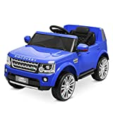 Kidzone Kids 12V Battery Powered Ride On Licensed Land Rover Discovery Vehicle 2 Speed, 2.4G Remote Control, 2 Doors Open, Four Wheels Suspension, LED Headlight, USB/AUX/FM Music, Blue