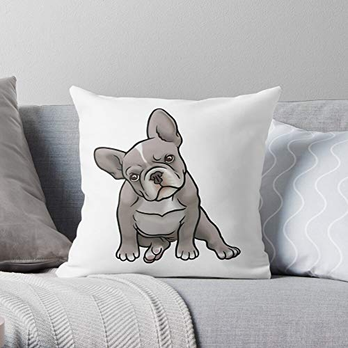 Puppy French Breed Grey Gray Bulldog Dog Frenchie Square Form Decorative Indoor Cotton Throw Pillow