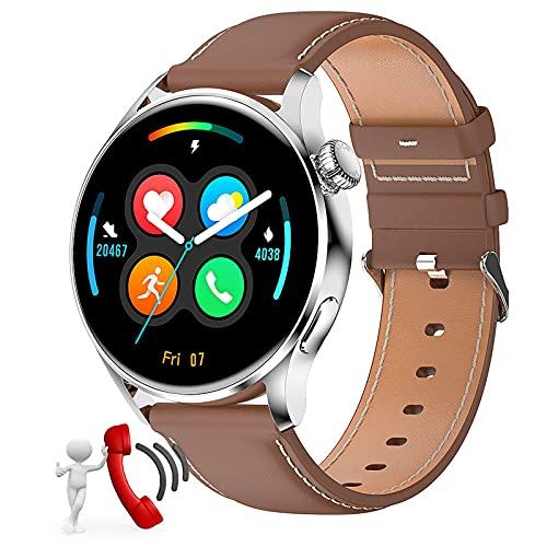 Smartwatch, Pantalla 1.28' Reloj inteligente, Reloj Deportivo para Hombre, Pulsera Actividad con Llamada Bluetooth, Monitor de Sueño Pulsómetro Podómetro, Notificación, Impermeable IP68 ,Marrón
