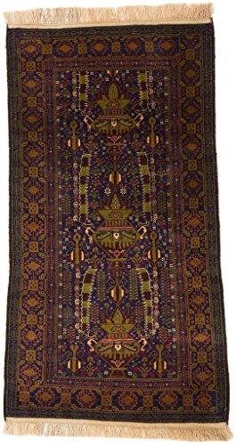 CarpetFine: Belutsch Teppich 106x208 Blau,Grün,Multicolor - Handgeknüpft - Orientalisch