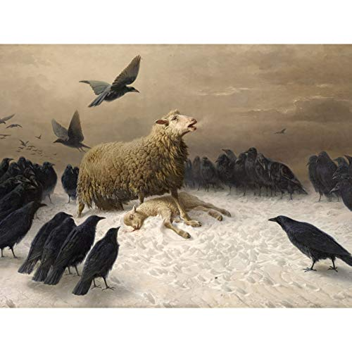 Schenck Anguish Sheep Ewe Crows Carrion Painting Premium Wall Art Canvas Print 18X24 Inch