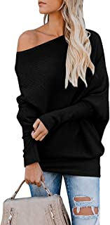 Tutorutor Womens Off The Shoulder Tops Oversized Batwing Sleeve Pullover Loose Rib Knitted Jumper Sweaters