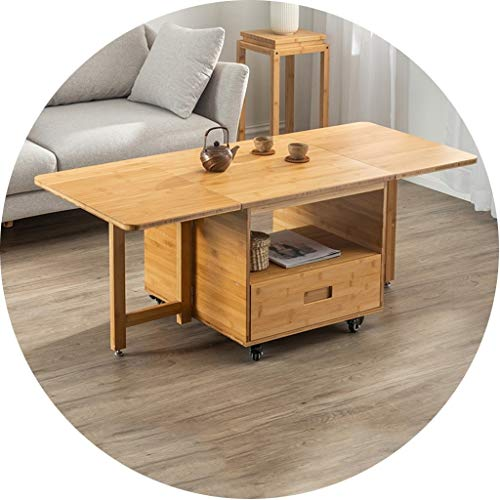 Kitchen Rack Shelves Movable Dining Table Home Movable Tea Table Living Room Bamboo Low Table Small Apartment Sofa Side Coffee Table Best Gift (Color : Yellow, Size : 132.56051cm)