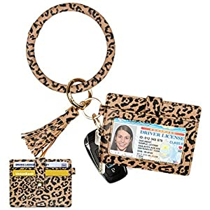 Keychain Bracelet with Card Holder for women|3 Card Slots|PU Leather Wristlet Keyring Bangle