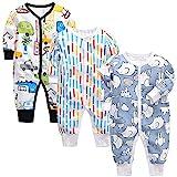 amropi Bebé Recién Nacido Niños Mono Peleles Pijama Mameluco de Manga Larga Pack de 3, 18-24 Meses,Negro/Blanco/Azul